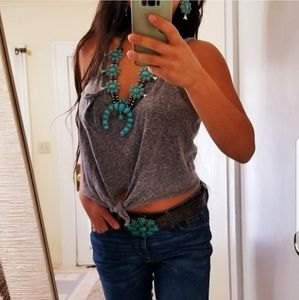Western Aztec Turquoise Squash Blossom Necklace